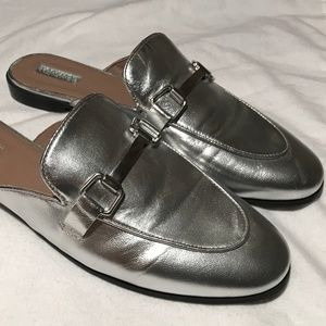 Topshop Kylie Backless Metallic Leather Mules